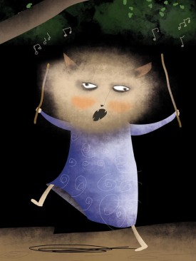 This is an image of a troll beast called Mystery Sam. He is hairy and mean and likes to sing and dance. He has a gang.