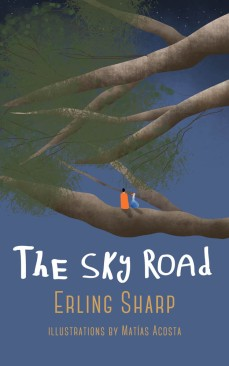 This is the front cover of the book called The Sky Road. It shows Ralf and Blue Goose Bill sitting together in a tree, looking out into the universe.