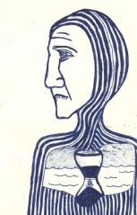 This is an image of a mediaeval man. He look glum. There is an hourglass in his chest.